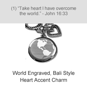 World Engraved, Bali Style Heart Accent Charm