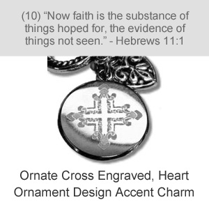 Ornate Cross Engraved, Heart Ornament Design Accent Charm