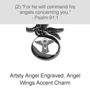 Artsy Angel Engraved, Angel Wings Accent Charm