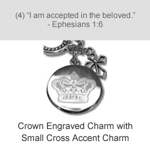 Crown Engraved Charm with Small Cross Accent Charm