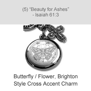Butterfly / Flower, Brighton Style Cross Accent Charm