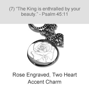 Rose Engraved, Two Heart Accent Charm