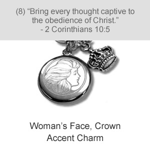 Woman's Face, Crown Accent Charm