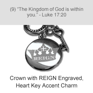 Crown with REIGN Engraved, Heart Key Accent Charm