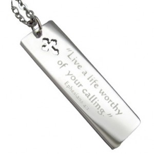 Long Scripture Tag with Cross Cutout Necklace