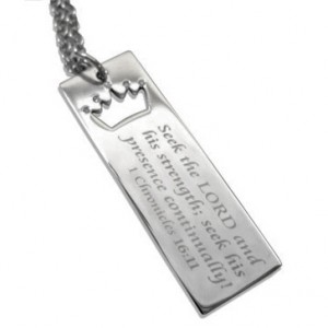 Long Scripture Tag with Crown Cutout Necklace