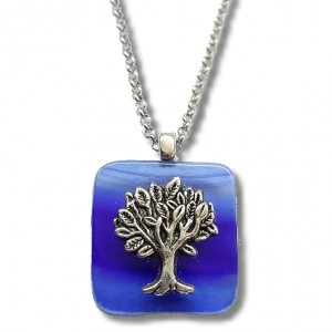 Beautiful Tree of Life Pendant in cobalt blue which reminds us of Israel