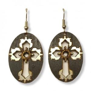 Wood Foil cross earrings good