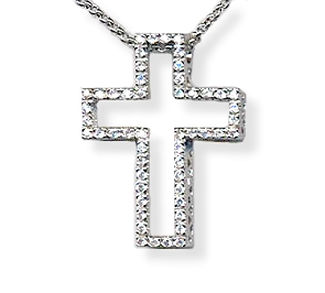 bling CZ cross necklace 2
