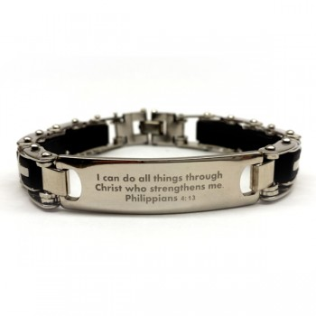 Men's Stainless Steel Cross Scripture Bracelet