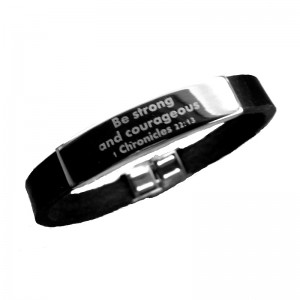 Unisex Leather Band and Stainless Steel Scripture Bracelet
