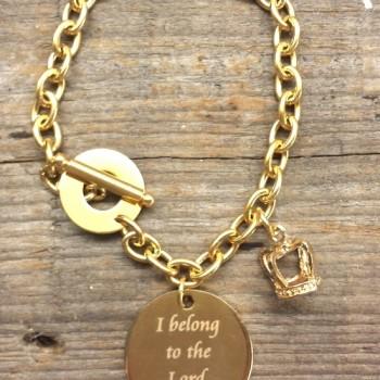 Gold Chain Scripture Charm Bracelet