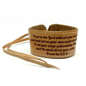 No41 Leather Scripture Bracelet